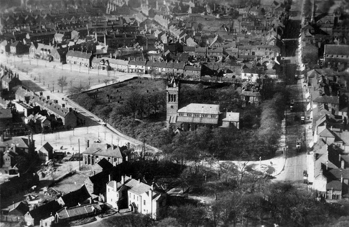 Bloxwich from the Air pre 1929 former Workhouse on Elmore Row