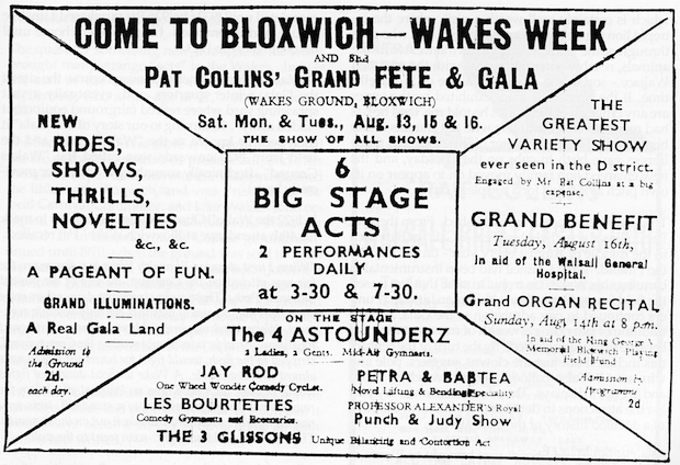 B+W typed Bloxwich Wakes advert, early 1900s