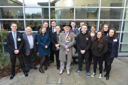 Group shot of 14 people including Noddy Holder with Academy Students, Catcher Media and Mick Aylton (Noddy's school friend)