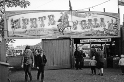 B+W Pat Collins Bloxwich Fete And Gala Wakes Ground Entrance 1965 two teenagers leave