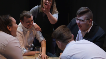 Groups of students laughing at their mistakes