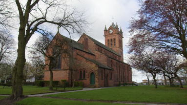 View of All Saints Church 2016 with clock tower.