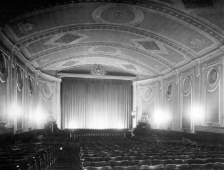 B+W image showing the interior of The Grovesnor Cinema