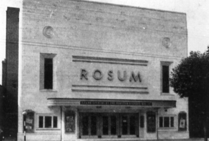 B+W exterior view of the The Rosum Cinema 1930s
