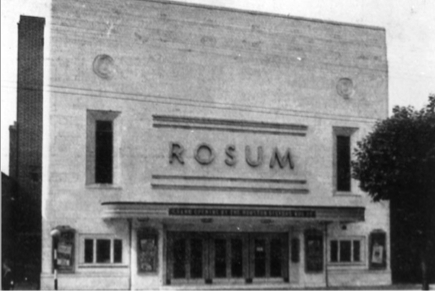 B+W exterior view of The Rosum Cinema 1930's