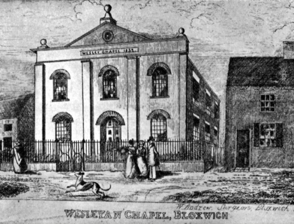 The Bloxwich B+W drawing of Wesleyan Methodist Church built in 1832, peopel outside and lurcher dof approx 1830's