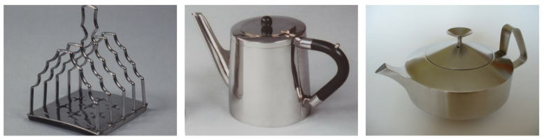 Old Hall stainless steel tableware toast rack and 2 x teapots