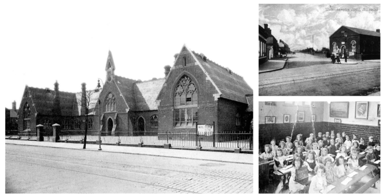 Collage of 3 B+W photos The Bloxwich National School 1931; Music Hall 1910; School children in class 1920s.