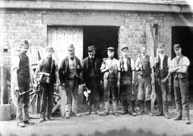 Mine workers Fishley Colliery, Little Bloxwich c1900