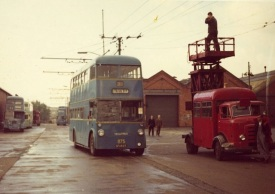 Last Walsall to Bloxwich trolley bus leaves the depot 3rd October 1970